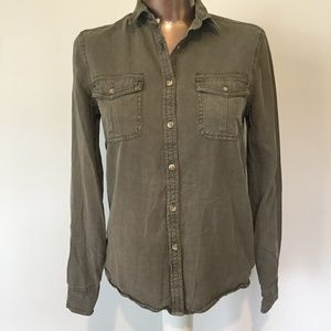 AE American Eagle Olive Army Distressed Button